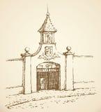 w centrum square rysuje tła trawy kwiecistego wektora ilustracji
