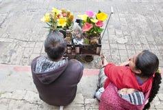 W Chiapas kwiatów Sprzedawcy, Meksyk obrazy stock