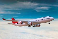 W chmurach pasażerski samolot ilustracji