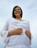 w ciąży na plaży Fotografia Royalty Free