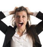 Wściekli bizneswomanów wrzaski Zdjęcie Royalty Free