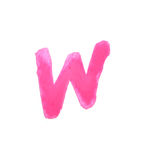 W - Color letters isolated over the white background. Stock Image