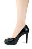 W czerń bucie kobiety noga zdjęcie stock