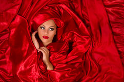 W czerwonej atłasowej tkaninie zmysłowa twarz Obraz Stock