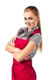 W czerwonych kombinezonach młoda szczęśliwa kobieta Fotografia Royalty Free