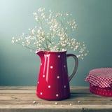 W czerwonym dzbanku piękni kwiaty Obrazy Stock