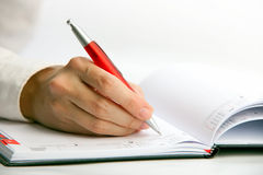 W datebook bizneswomanu writing obrazy stock