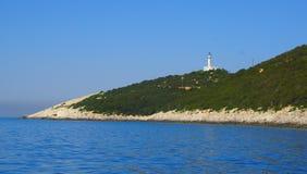 w domu światło Przylądek Doukato, Lefkada wyspa, Grecja obraz royalty free