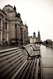 W Dresden rzeczny bulwar Zdjęcia Royalty Free