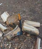 W drewnach zbliża fiszorek cioskę dla rozszczepiać łupkę Zdjęcia Royalty Free
