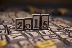 2015 w drewnianym typeset Fotografia Royalty Free