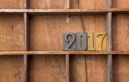 2017 w drewnianym typeset Fotografia Stock