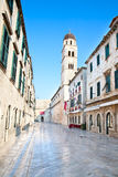 W Dubrovnik główna ulica, placa Sradun Obraz Royalty Free