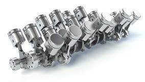 W16 engine pistons. 3D Stock Image