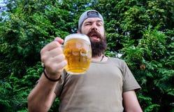 W figlarnie nastroju Brutalny modniś z mrugać twarz ma rzemiosła piwo Mężczyzny pijący trzyma piwnego kubek Brodaty m??czyzna cie obrazy stock