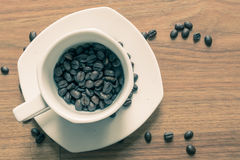 W filiżance kawowa fasola Zdjęcie Stock