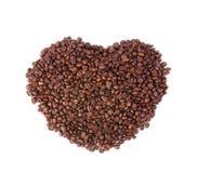 W formie serca kawowe fasole Zdjęcie Stock