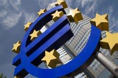 W Frankfurt euro Znak Zdjęcia Stock