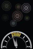W-fuegos artificiales del reloj del Año Nuevo Imágenes de archivo libres de regalías