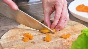 W górę żeńskich ręk ciie wysuszone morele z nożem na tnącej desce Kulinarny jarski jedzenie zbiory