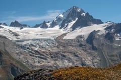 W górę Aiguille Verte i lodowowie pod, Francuscy Alps fotografia royalty free