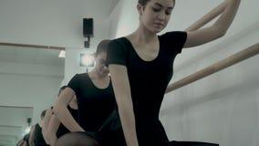 w górę balerin tanczy blisko baletniczego barre, stoi w górę i Plie RELEVE i PLIE zbiory