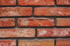 W górę Czerwonej ściany z cegieł tekstury zdjęcia royalty free