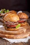 W górę domowej roboty hamburgeru obraz stock