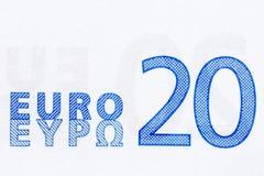 W górę 20 euro banknotu dla twój unikalnego projekta zdjęcie stock