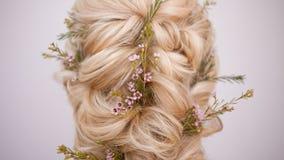 W górę fryzur z tkactwem pasemka dekorowali z małymi kwiatami zdjęcie royalty free