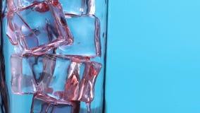 W górę jaskrawego czerwonego truskawkowego jagodowego soku nalewa w szkło z lodem zbiory wideo