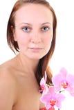 w górę kobiet potomstw kwiatu zamknięty portret Obrazy Royalty Free