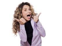 w górę kobiety portreta szczęśliwy kciuk Obraz Stock