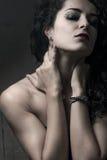 w górę kobiety zamknięty brunetka portret fotografia royalty free