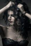w górę kobiety zamknięty brunetka portret zdjęcia royalty free