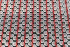 W górę makro- zakończenie wyrównywał polimerów elektrolitowych capacitors narzędzia elektroniki teletechnicznych składniki pakują obraz royalty free