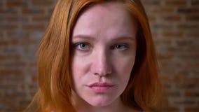 W górę mknącej imbirowej caucasian pięknej twarzy dziewczyna, zieleni oczy, dosyć artystyczna osoba, stoi blisko cegły