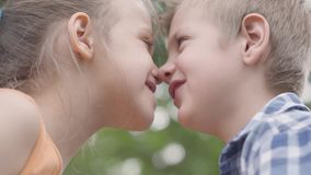 W górę portreta śliczny chłopiec i dziewczyny obsiadanie w parku, próbujący nacierać ich nosy i mieć zabawę Kilka szczęśliwy zdjęcie wideo