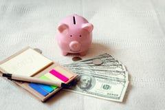 w górę prosiątko banka, Dolarowej pieniądze gotówki, papier notatki na sypialni, Biznesowych bankowość i Pieniężnego pojęcia, zdjęcie royalty free