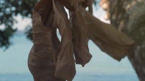 W górę strzału nieżywy brąz opuszcza obwieszenie na drzewie z blured tłem zbiory