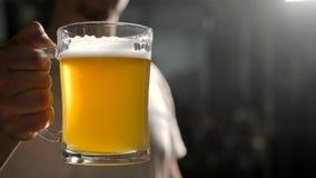 W górę strzału piwowar podnosi szkło świeżo robić lekki piwo zbiory