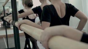 W górę tylnego widoku mali baletniczy tancerze stoją wzdłuż baletniczego barre zbiory wideo