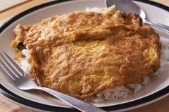 W górę widoku wyśmienicie Tajlandzki stylowy wieprzowiny omelette na górze ryż obraz royalty free