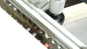 W g?r? maszyny z musztruje dla musztrowa? drewniane deski akcja Nowo?ytna automatyzuj?ca maszyna dla musztrowa? drewniani bary zbiory