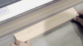W g?r? pracownika przetwarza drewniane deski na szlifierskiej maszynie akcja Przemys?owa szlifierska maszyna przy woodworking lub zbiory