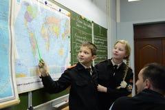 W geografii klasie w kadetów korpusach policja Obraz Royalty Free