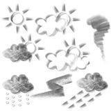 węgiel drzewny rysunkowa prognozy ikony pogoda Zdjęcia Royalty Free
