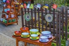 Węgierski handmade ceramics w wiosce Tihany blisko lak, od Fotografia Stock