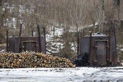 Węgla drzewnego palnik z palowym drewnem Obrazy Stock
