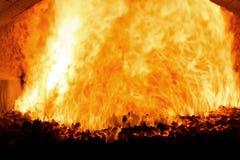 Węglowego ogienia inside parowy bojler Obrazy Royalty Free
